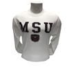 Champion MSU Bear Head White Long Sleeve Tee