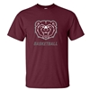 Gildan Bear Head Basketball Maroon Short Sleeve Tee