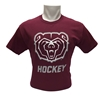Gildan Bear Head Hockey Maroon Short Sleeve Tee