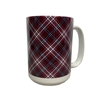 Plaid Maroon, White, Black Coffee Mug