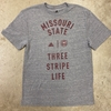 Adidas Gray MO State Three Stripe Life Short Sleeve