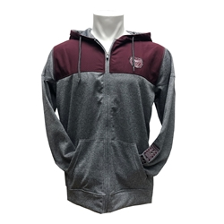 Colosseum Bear Head Missouri State Maroon and Gray Full Zip with Hoodie