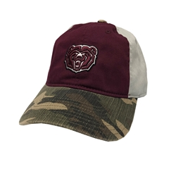 Adidas Bear Head Maroon with Camo Bill Adjustable Hat