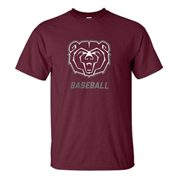 Gildan Bear Head Baseball Maroon Short Sleeve Tee